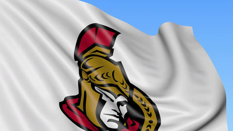 Close-up of waving flag with Ottawa Senators NHL hockey team logo, seamless loop Live Action