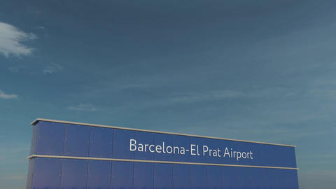 Commercial airplane taking off at Barcelona-El Prat Airport 3D conceptual 4K Footage