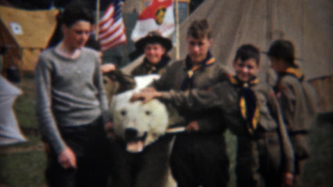 1945: Boyscouts posing with stuffed dead polar bear mounted head Footage