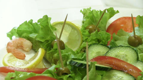 Snack With Cucumber, Lemon And Shrimps stock footage