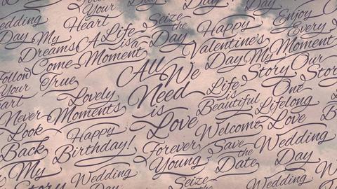 Romantic Calligraphic Titles Background stock footage