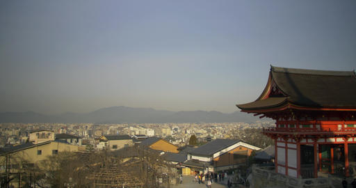 Panning right to left over Kyoto City ライブ動画