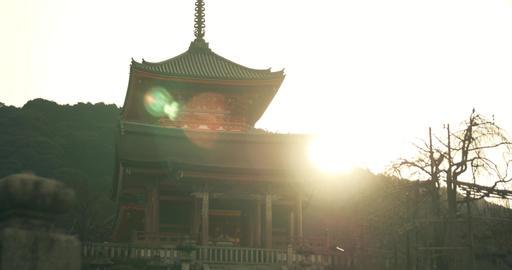 Sunrise over mountain top temple in Kyoto Footage