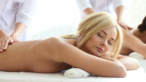Two Women Getting Massage stock footage