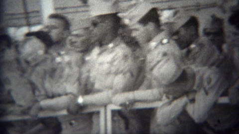 1953: Navy military soldiers coming home on cruise ship Footage