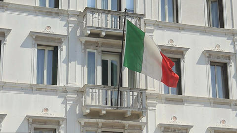 Italy's Flag On The House stock footage