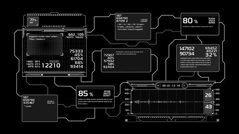 Beautiful Flowcharts Drawing Animation. Futuristic HUD with Numbers and Code CG動画素材