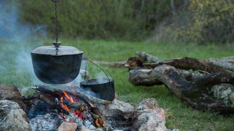 Tourist campfire Footage