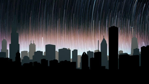 The starry night scene of the city at night. Loopable, Stock Animation