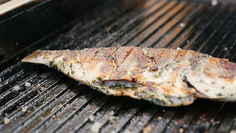 Macro Fried Grill Fish with Golden Crust Sprinkled with Spice Footage