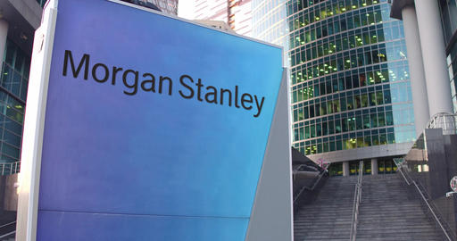 Street signage board with Morgan Stanley Inc. logo. Modern office center Footage