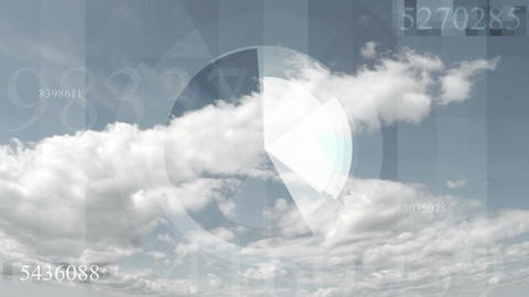 Hi-tech futuristic video animation with sky cloudscape timelapse Animation