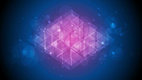 Tech polygon abstract blue purple shiny sparkling video animation Animación