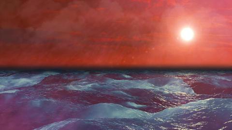 Beatiful sunset on waving sea, Loopable Background Animation