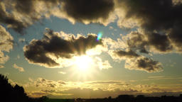 Cloudy sunset over the Vosges Footage