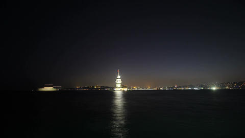 Maiden's Tower in istanbul, Turkey (KIZ KULESI - USKUDAR) 4K, Timelapse Video Image
