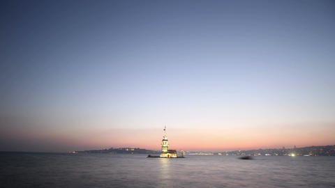 Maiden's Tower in istanbul, Turkey (KIZ KULESI - USKUDAR) 4K, Timelapse Video Footage