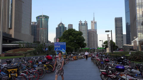 Bicycle Parking And Pedestrians In Shanghai Financial District China Asia Filmmaterial
