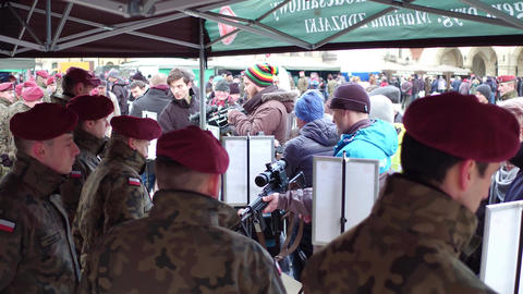 KRAKOW, POLAND - JANUARY, 14, 2017 Army personnel demonstrate modern weapons at Footage