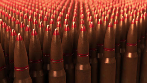 Big supply of shells or cartridges, seamless loop. War, ammo, aggression Footage