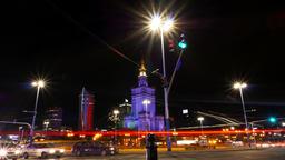 Warsaw City Center Night Timelapse Warszawa Footage