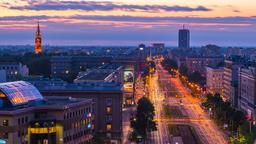 Warsaw John Paul II Avenue Sunset Timelapse Warszawa Footage