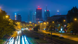 Warsaw City Center Skyscape Night Timelapse in the Fog Warszawa Panorama Footage