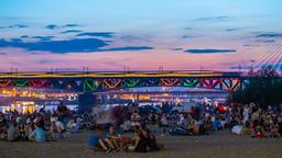 Warsaw Beach Timelapse Średnicowy Bridge Warszawa Plaża Footage