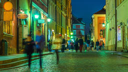 Warsaw Old Town Street Night Timelapse Warszawa Stare Miasto ビデオ