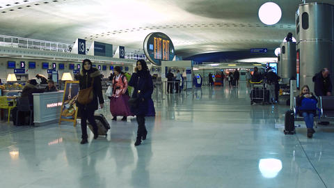 PARIS, FRANCE - JANUARY, 1, 2017 Steadicam shot of Charles de Gaulle airport Footage