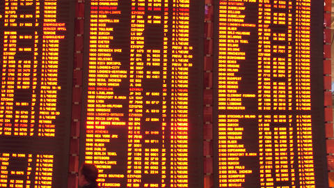 PARIS, FRANCE - JANUARY, 1, 2017 Charles de Gaulle airport departure board. 4K Footage