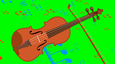 Animated violin and flying music notes on green screen. Musical animation. 4k Animation