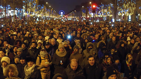 PARIS, FRANCE - DECEMBER, 31, 2016. Overhead shot of crowded Champs-Elysees Footage