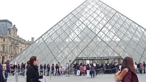 PARIS, FRANCE - DECEMBER, 31, 2016. Steadicam shot of people standing in line to Footage