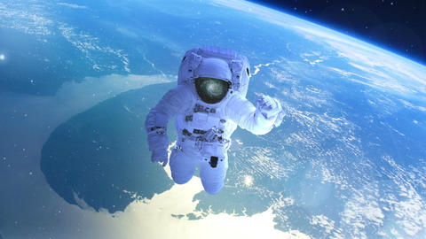Astronaut above the earth in open space Animation