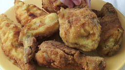 Fried chicken on a plate. Crispy fried chicken Footage
