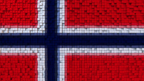 Stylized mosaic flag of Norway made of moving pixels, seamless loop motion Footage
