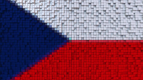 Stylized mosaic flag of the Czech Republic made of moving pixels, seamless loop Footage
