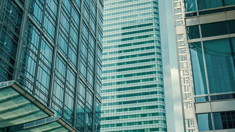 London glass skyscrapers office buildings, Brexit Footage