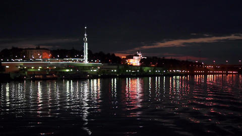 Night city of Yaroslavl view from the river Footage