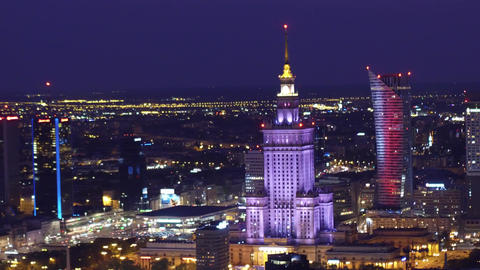 WARSAW, POLAND - AUGUST 26, 2017. Palace of Culture and Science establishing Footage