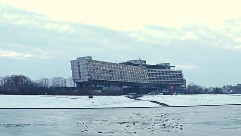 KRAKOW, POLAND - JANUARY, 14, 2017 Forum Hotel and river Vistula embankment in Footage