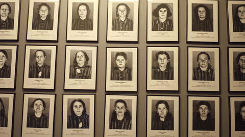OSWIENCIM, POLAND - JANUARY, 14, 2017 Portraits of Auschwitz Birkenau victims Footage