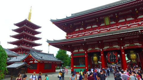 Sensoji five-storied pagoda and Houzoumon in Tokyo Japan ビデオ