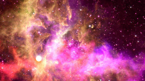 Flying through nebula, Abstract Loopable Background Image