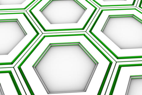 0446 hite hexagons with green glowing sides Fotografía