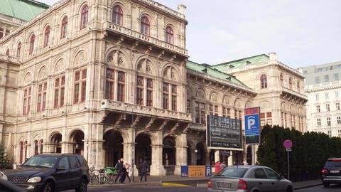 VIENNA, AUSTRIA - DECEMBER, 24 Steadicam shot of Wiener Staatsoper, State Opera Footage