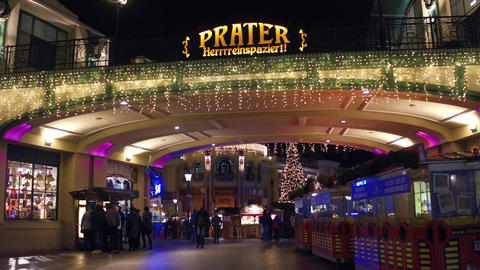 VIENNA, AUSTRIA - DECEMBER, 24 Steadicam shot of entrance to the famous Prater Footage