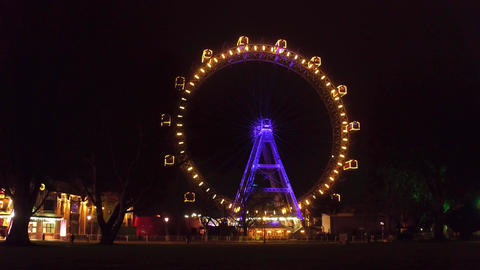 Famous Prater Wiener Riesenrad Ferris wheel in the evening Footage