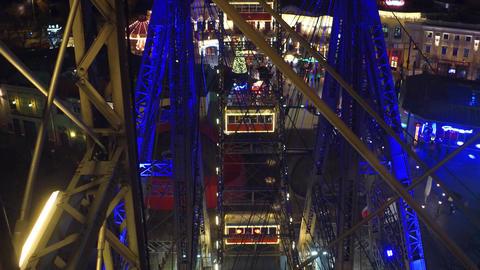 VIENNA, AUSTRIA - DECEMBER, 24 POV shot of famous Prater Wiener Riesenrad Ferris Footage
